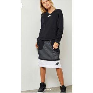 Nike Mesh Overlay Skirt Black White Modest XS New